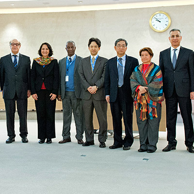 United Nations staff members in group portrait